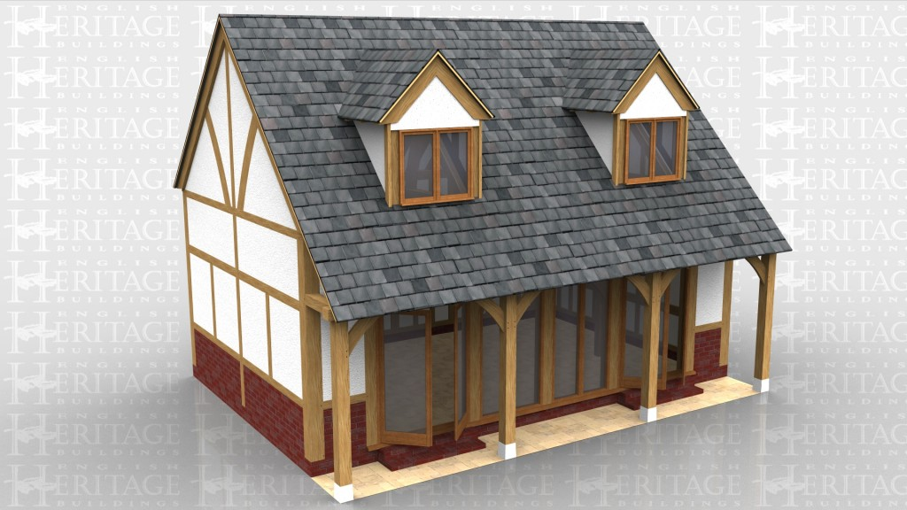 This oak framed house has three bays and a low brick wall to all sides of the building. The front of the house is fully glazed with full length opening garden room windows and the front wall is set back slightly, giving a porch effect. The first floor has two sets of dormers with two pane windows to allow for lots of natural light, and there is trimming for two rooflights to the rear.