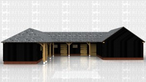Four stables, a tack/tea room, a secure store and a open fronted covered area in a U-shaped complex.