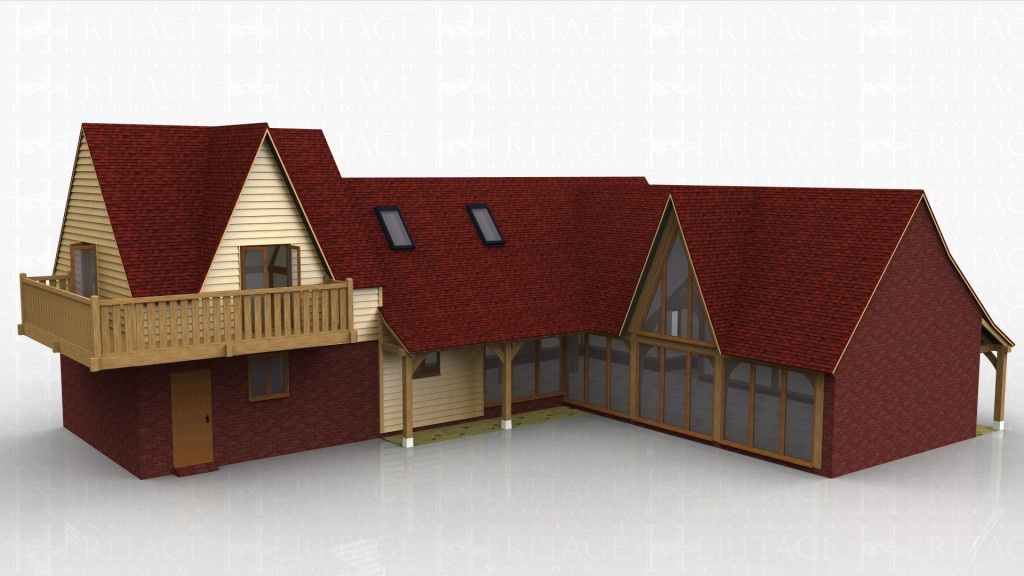 An L-shaped house designed for a customer who wanted a large light and airy living space provided by an open vaulted lounge with large glazed units all along one side including a stunning glazed gable area and vaulted landing overlooking at the top of the stairs. The upstairs area is provided by a sling brace design with a feature balcony running around two sides of the master bedroom making use of the beautiful views over the South Downs. Dormer windows and rooflights both provide additional natural light to the upper floor.