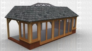 A glazed oak framed extension with flat top to roof to avoid first floor wndows and an oak glazed lantern for extra light.