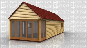 A building to go in the garden to incorporate a garden room, workshop and store area.