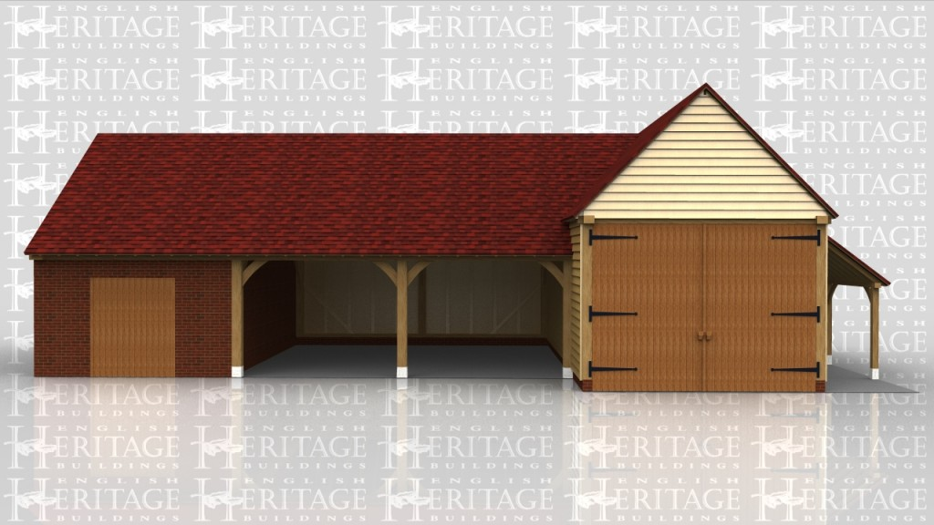 One building has a higher eaves height with garage doors and a log store on the side. The other building is partly built over an existing enclosed brick shed and gives two more open car spaces.