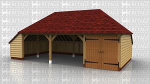 Three bay oak framed building with 2 open bays with an enclosed log store and a secure store area with double doors on the front.