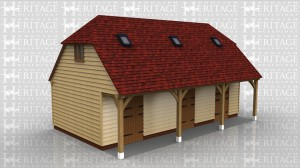 This oak framed building is a lambing shed with office above.