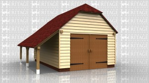 Single oak framed garage with garage doors and a side log store.