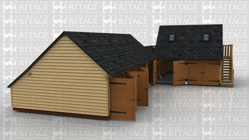 Oak framed complex with 6 garage bays, 4 with garage doors. A small workshop/store area and 2 bays have a first floor over which is accessed via an external oak staircase.