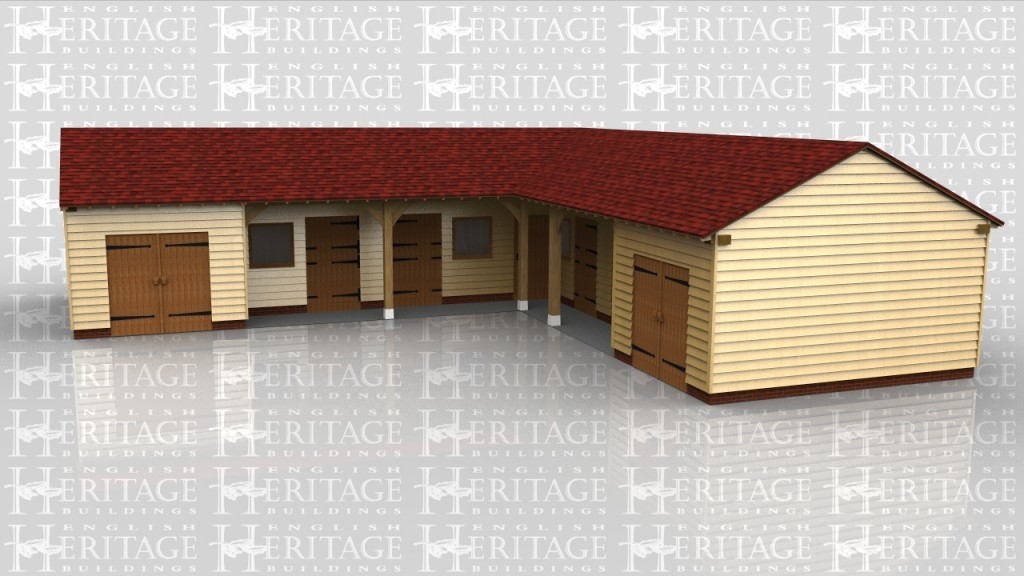 An 'L' shaped oak framed complex incorporating 4 stables, a tack room and two secure storage areas accessed via double doors.