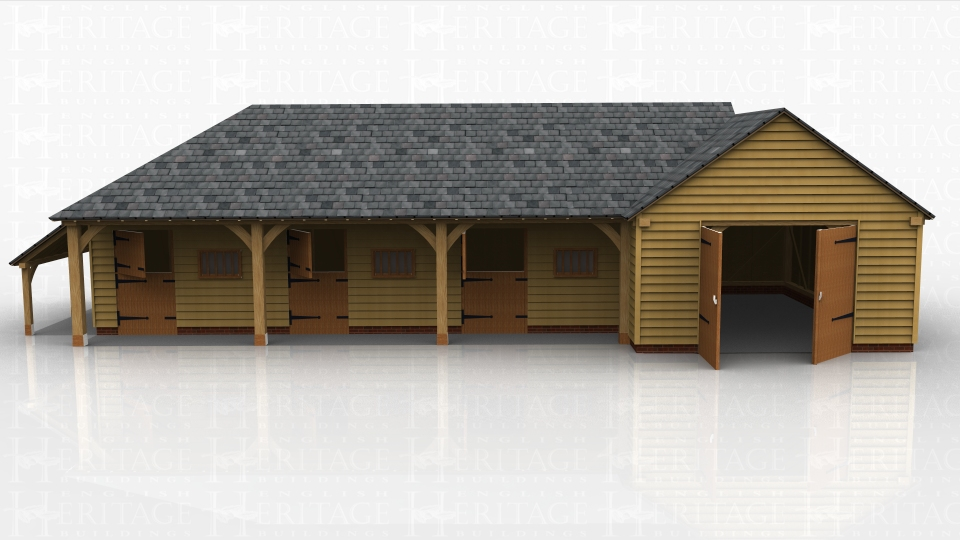 An oak framed stable complex comprising of three stables and a single enclosed garage.