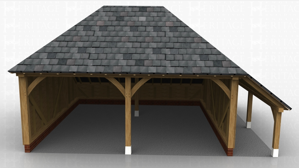 Two bay open fronted oak framed garage with a log store on the right hand side.