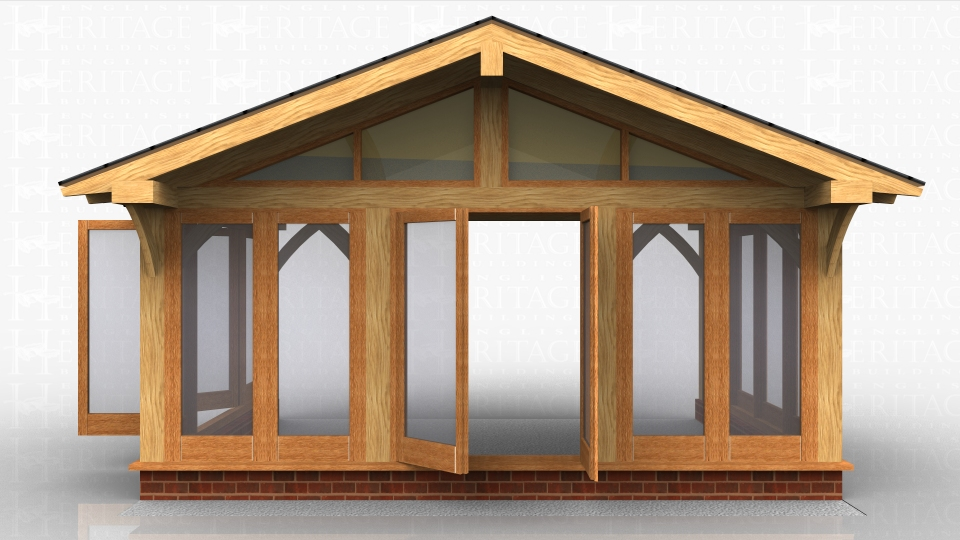 Oak framed house extension with glazing all around and a glazed gable under a large roof overhang.