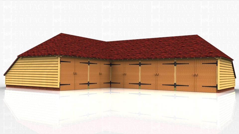 An 'L' shaped oak framed garage complex comprising of 5 car bays all with garage doors to make one complete secure area with a large workshop area in the corner.