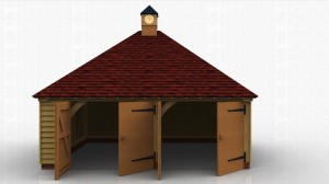 2 bay garage split into two secure parking bays with garage doors. Roof has an oak clock tower on top.