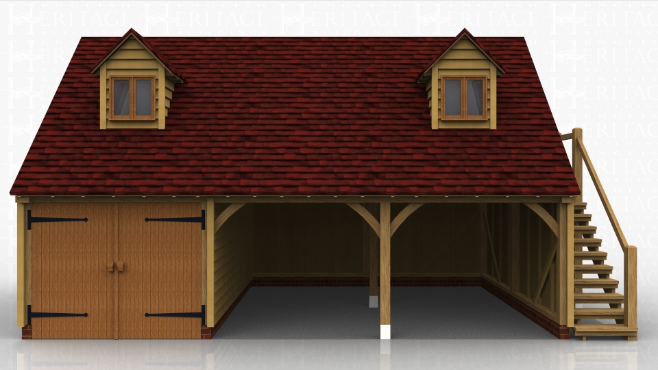Three bay oak framed garage with first floor accessed via an oak staircase on the right hand side. Two dormers to the front bring more light and space to the first floor. One bay secured parking using a partition and pair of garage doors.