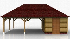 3 bay oak framed building used as a secure storage area and an open covered sitting area for the garden.