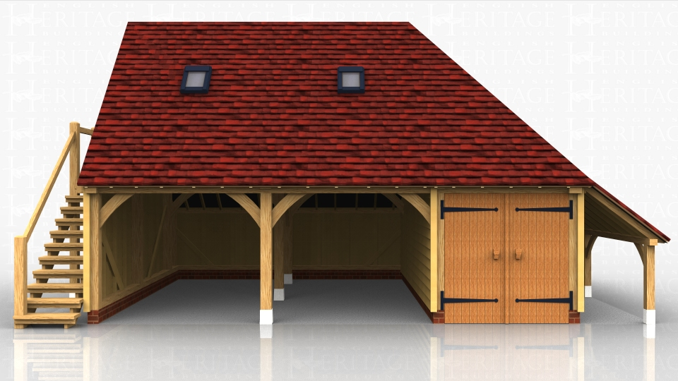 Three bay oak framed garage with external oak staircase leading up to the first floor. There are 2 open car bays and a smaller third bay with double doors on the front to make a secure workshop/storage area.