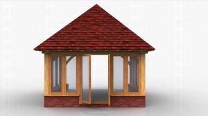 A square oak framed extension with glazed units on dwarf cavity brickwork.