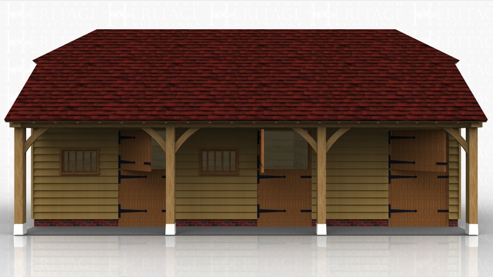 A block of 3 stables each with a softwood stable door and a softwood mullion window.