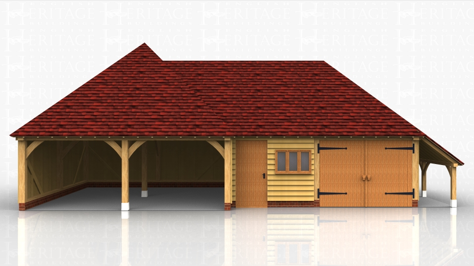 A complex of a square double open oak car port bays with a workshop and  secure garage bayand log store on the right hand side.