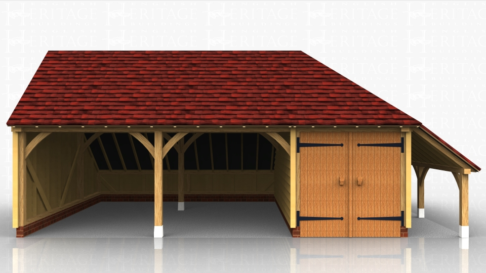 Two open garage bays with a secure store / workshop on the right hand side. A logstore is also attached to the store.