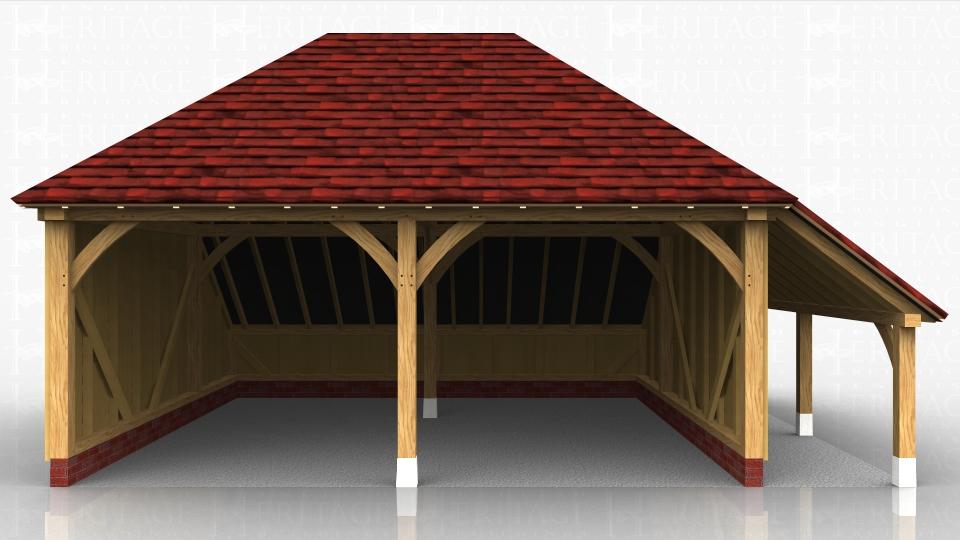 2 bay oak framed open garage logstore ws00085 for Due bay garage
