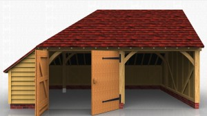 Two bay oak garage with one open car bay and a second enclosed with garage doors with an internal storage area under the side catslide roof.