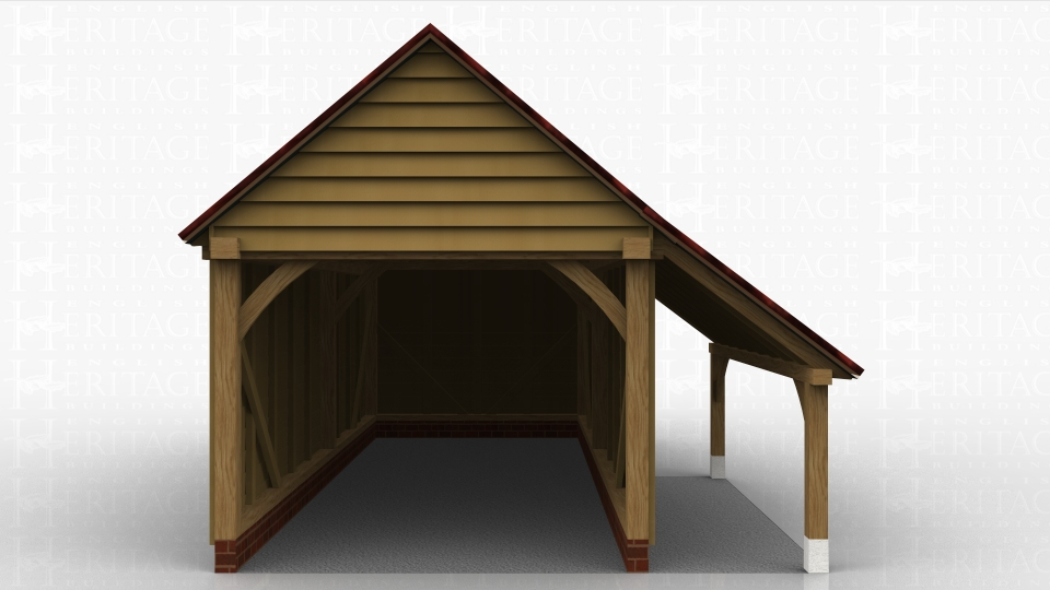 Single oak garage with logstore down part of one side.