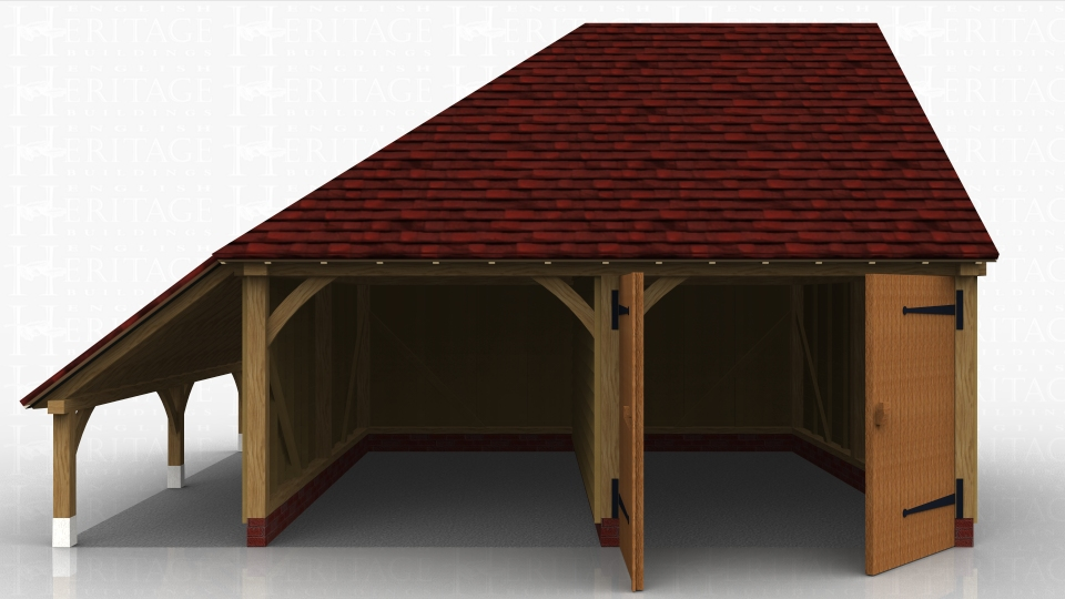 Two bay oak framed garage with one open parking space and one secured with garage doors. It also has a logstore on the side.