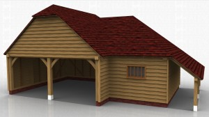 2 bay oak garage with seperate store accessed from inside garage. Logstore on right hand side.
