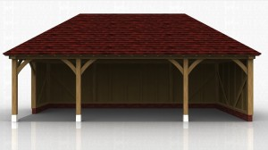 An oak framed covered area for sitting or storing outdoor furniture.
