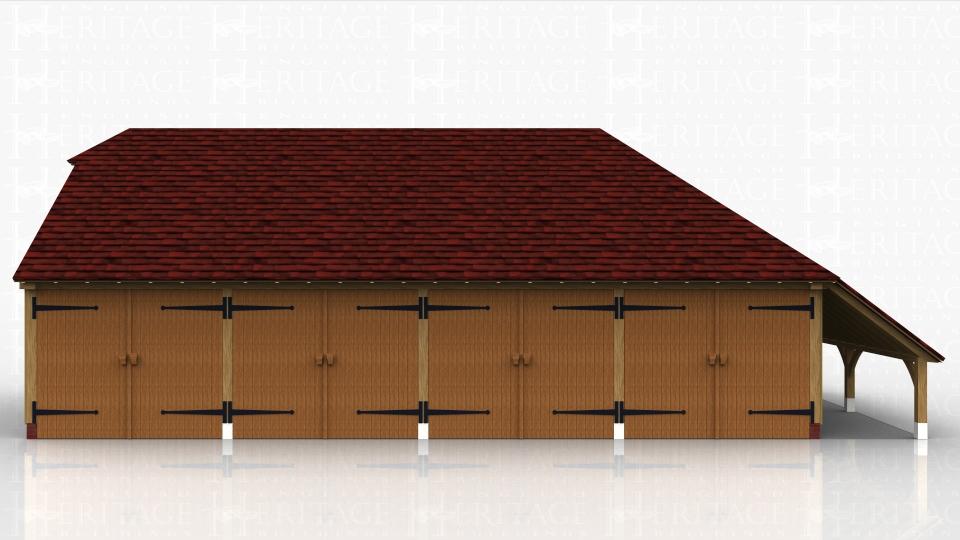 4 Bay Oak Garage All Bays Enclosed Logstore Ws00096
