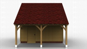 Oak framed garden store with overhang at the front and accessed by a single door under the roof overhang.