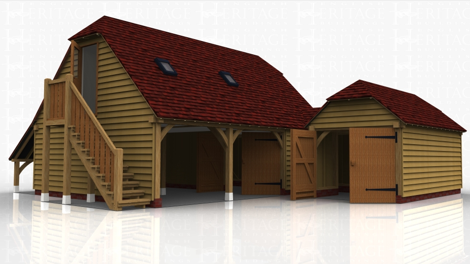 An oak framed complex comprising of a 3 bay garage with a first floor accessed by an external oak staircase, 2 bays open parking spaces and the third is enclosed as a storage / workshop area with access via a pair of garage doors. A small link takes you through to a single storey garage secured with garage doors.