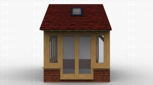 Small oak framed extension with accessed by a pair of glazed doors. One side is weatherboarded and the others glazed on a low cavity plinth wall.