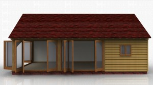 A garden leisure building with 3 sets of bi-folding glazed doors.This building has exposed oak rafters with an insulated warm roof over.