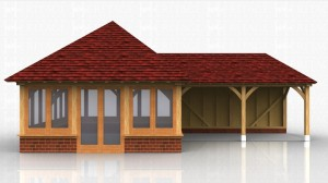 2 bay enclosed oak framed garden room with glazing to all four sides with a small covered area to the side.