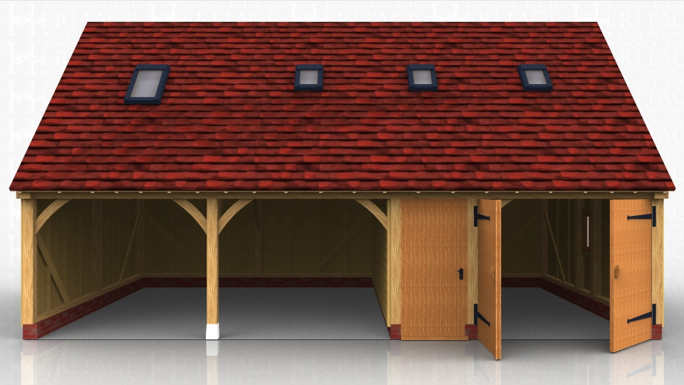 Oak framed garage block with two open car bays and one car bay enclosed with garage doors. A narrow bay between the 2 houses the internal staircase which accesses the first floor space.