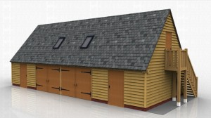 4 bay oak framed building with external oak staircase up to first floor space. The building has 2 sets of garage doors on the centre two bays with weatherboard and single doors to the other two bays.