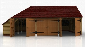 3 bay oak framed garage with 3 sets of garage doors and an internal storage area under the side catslide roof.