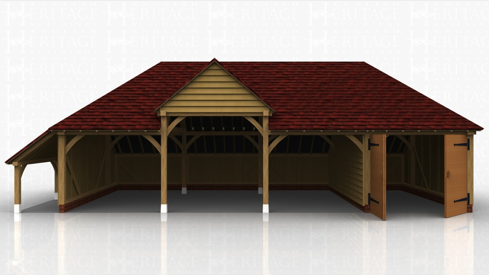 Four bay oak framed building with one bay enclosed with a partition and a pair of garage doors. The other 3 bays are open and one bay has a higher eaves height to accommodate a taller vehicle. There is also a logstore on one end.
