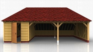 3 bay oak framed garage with 2 open car spaces and one bay enclosed to form a workshop / store.