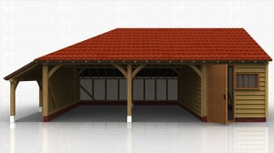Three bay garage with logstore on one end. Two open car parking bays and one bay enclosed to form a secure workshop.