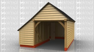 1 bay garage with catslide on side to form a store accessed by a single door.