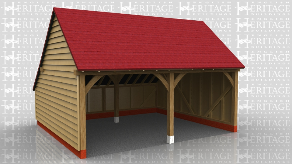 2 bay oak framed garage.