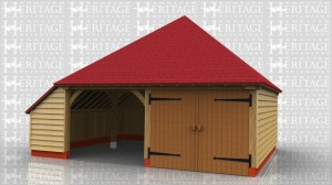 2 bay oak garage with one bay secured with garage doors and a partition.