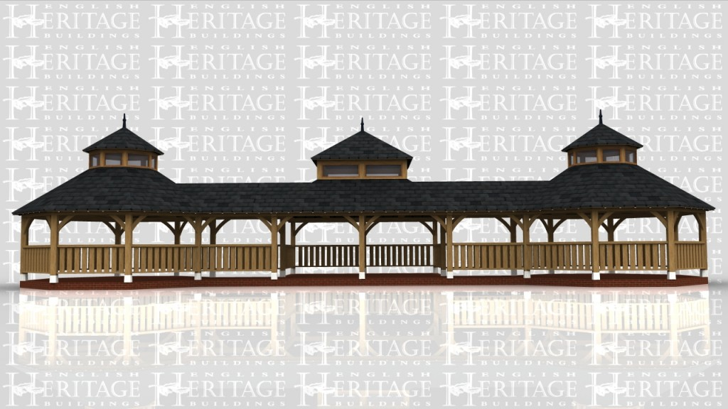 An oak frame based on a Japanese pagoda  type design to replace an existing one that was falling down.
