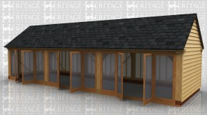 A detached garden room with a slate roof. It is totally glazed along the front with 3 sets of glazed doors. Both the walls and roof are ready to take insulation and plasterboard if required.