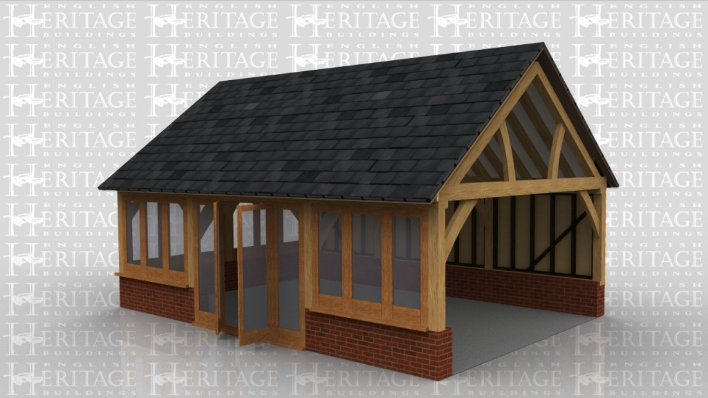 Three bay garden room extension to a house sitting on a dwarf cavity brick wall. Glazing along 2 sides and the third side has weatherboard with insulation and plasterboard on the inside. There are also 3 feature trusses in the roof.