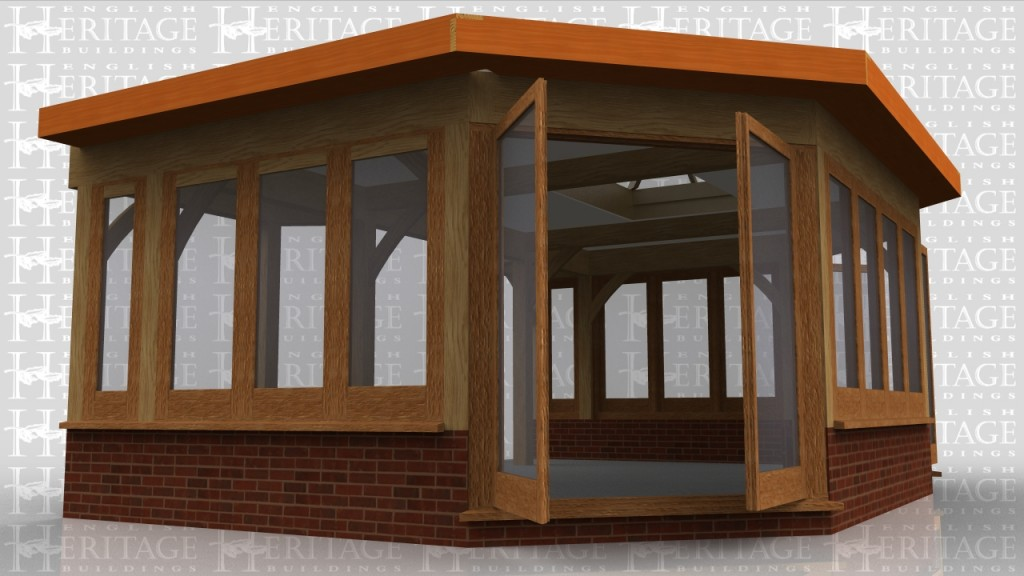 An oak framed garden room extension with an octagonal end. There is glazing on all sides and it has a flat roof with glazed roof lantern to get under a first floor window. The glazing is sitting on a dwarf cavity brick wall with 2 sets of glazed doors in the angled corners.