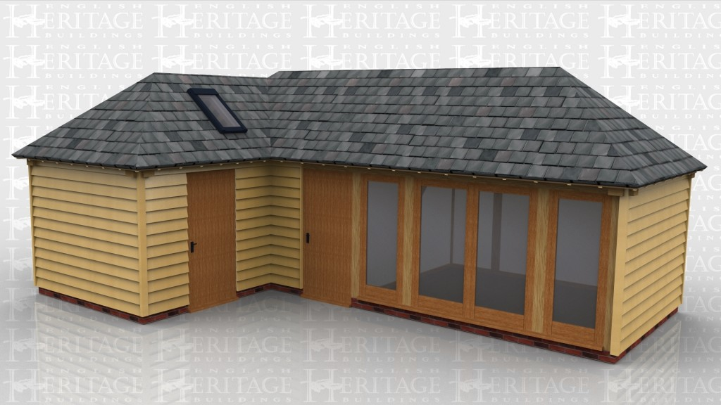 Oak frame l shape building single bay garage sun room L shaped building