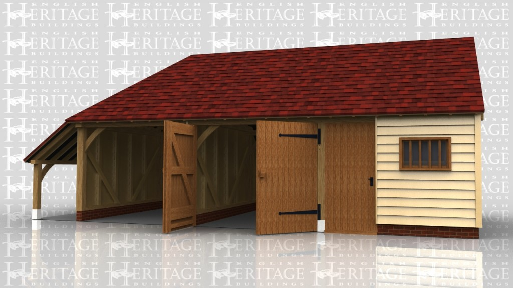A three bay garage with a hip end and logstore on the left. It has one open bay and two enclosed, one with garage doors and the other with a side to side partition which has a single door and mullion window in it.